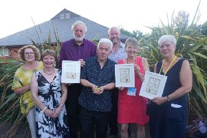 Frei Douglas a promoter at Appleby Town Hall, Appleby Hub and Dufton Village Hall, Janet Wood of Shap Memorial Hall, Mike Greener who took the award for Voluntary Promote of the Year, Ian McMillan, Tom Speight  chair of the NRTF and a promoter at Watson Institute at Castle Carrock, Barbara Slack, Co Director of Highlights and recipient of the Special Award and Rosie Cross Co Director of Highlights.