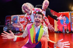 Danny Adams, Clive Webb and Mick Potts having fun in the big top. Picture by Jane Coltman.