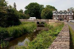 The River Pont running through the centre of Ponteland.