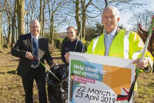 Coun Glen Sanderson, right, is pictured with Greg Gavin and Jasmine Boulton from Northumberland County Council neighbourhood services.