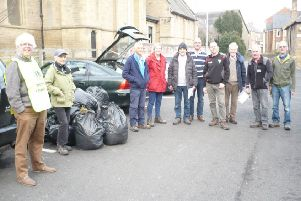 Some of the people who took part in the Morpeth Litter Blitz group's first litter-pick of 2019.