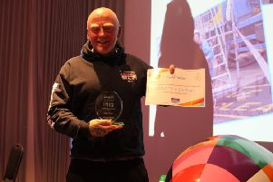 Dave Taylor receives his Lifetime Achievement accolade at the 2019 St Oswald's Hospice Life List Awards.
