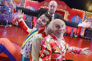 Panto legends and circus performers Clive Webb and sons Danny Adams and Mick Potts in their big-top tent at Tynemouth for three weeks from August 14th to September 2nd for their Cirque Du Hilarious 'Magical Mischief Tour'  250 years after the circus was born. Picture by Jane Coltman
