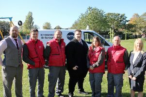 The new wardens in front of the CCTV van. The picture also features Richard Mitchell (far left), manager of the community protection team; Coun Carl Johnson (centre), cabinet member for housing and transport; and Coun Carole Burdis (far right), cabinet member for community safety.