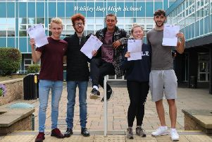 Whitley Bay High School students celebrating their A Level results.