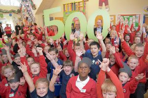 Stephenson Memorial Primary School in Wallsend celebrates becoming Greggs foundation's 500th breakfast club. Celebrating are headteacher Kerry Lilico, Greggs CEO Roger Whiteside and Richard Hutton, Greggs Finance Director. Picture by Will Walker/North News & Pictures