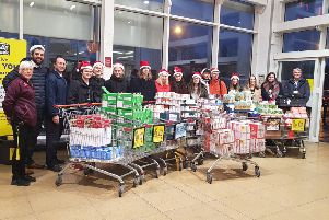 Staff and students from Whitley Bay High School visit Sainsbury's to purchase items for Whitley Bay Foodbank.
