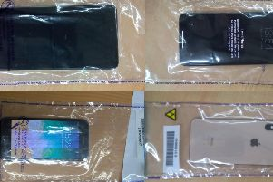 Part of the haul of mobile phones seized by police.