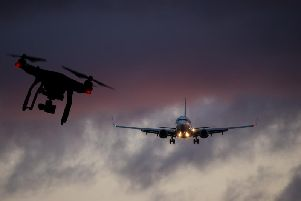 A composite image of a drone and aircraft in flight. Pictures: Shutterstock