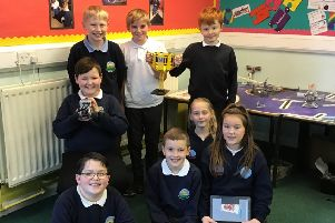 Pupils from Battle Hill Primary School who made it to the national finals of the FIRST Lego League Tournament.