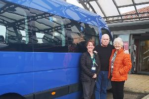 North Tyneside Day Hospice sister Lucy Hewitt, volunteer minibus driver Stan Turnbull and day hospice volunteer Margaret Hickman.