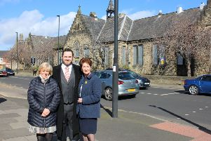 Mayor Norma Redfearn CBE, North Tyneside MP Mary Glindon and Mark Black, chief executive of Avado Property outside the Buddle Arts Centre in Wallsend.