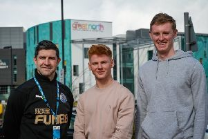 Sean Longstaff with James Geddes, 17, from Whitley Bay, and Gareth Williams, of Newcastle United Foundation.