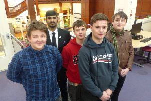 Matthew Laidler, President of Tyne Coast College's Students' Union (left), with executive members Oliver Keogh, Ahmed Al Shamsi, Connor Wright, and Evan Thompson.