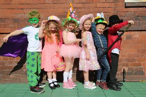 Rockcliffe First School pupils Fraser Watkinson, Emily Thicke, Emmylou Gibbons, Mollie McDonald, Harry Anderson and Oliver Rawlings  after their spot on the catwalk for the Easter Fashion show which raised funds for Whitley Bay Carnival.