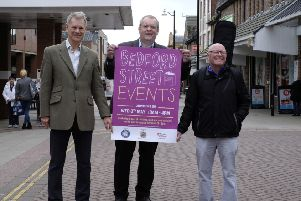 Chamber chair Miles Walton, Beacon Centre manager David Menzies and guitarist Larry Page launch the Bedford Street Events. Picture by RusbyMedia