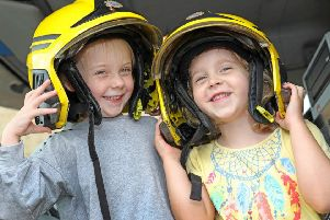 Best friends Clara and Amilie got to sit in the cab of the Tyne and Wear Fire Service appliance that attended the event