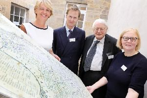 Cllr Cath Homer, cabinet member for culture, arts, leisure and tourism at Northumberland County Council; His Grace the Duke of Northumberland; Professor Paul Harvey, chair of the national advisory panel for manorial records; and Sue Wood, head of collections at Northumberland Archives.