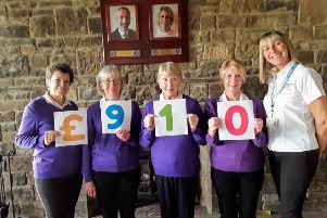 Ladies secretary Lorna Young  with vice captain Barabra Mowbray,  treasurer Viv Shanks, Captain Phyllis Stewart and Fiona Walker from the Trust.