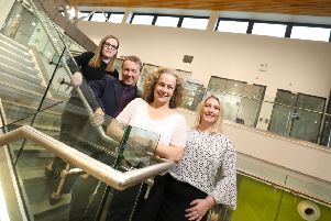 Louise Martin and Paul Milsted, of Eminent Engineering; Jane Siddle, of NEL; and Lyndsey Parsons, of Eminent Engineering; at Ashington Leisure Centre. Picture by Crest Photography.