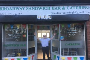 Cory Davison outside his family's new catering business Broadway Sandwich & Catering Bar.