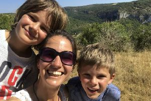 Lynette Friend with her sons Rhys and Zak who are fundraising towards volunteering at the Kosgoda Sea Turtle Conservation Project in Sri Lanka.