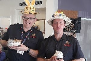 Fire crews from Cramlington judged the Easter bonnet competition at Belford Court.