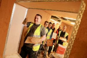 Level 2 Diploma in Plastering students with tutors David Hancock and Michael Anderson at Northumberland College in Ashington. Picture by Crest Photography.