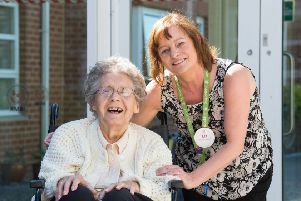 Resident Gladys Rowley and staff member Elizabeth Peters at RMBI Home Scarbrough Court. Picture by Derek Pelling.