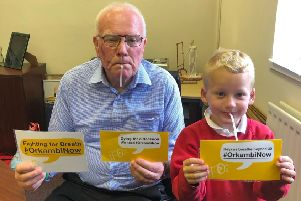 Ronnie Campbell and Charlie Foster pictured after the MP did the Strawfie Challenge.