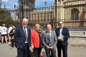 Some of the delegates outside the Houses of Parliament, from left, Paul Johnston, Northumberland County Council; Allison Joynson, Northumbria International Alliance; Martin Charlton, The Old Boathouse Group; David Hall, Northumbrian Water and Northumberland Tourism.