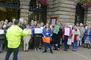 Protesters against the closure of the inpatient ward at Rothbury Community Hospital back in 2017.