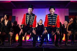Gary Brown and Mark Stenton sing The Greatest Show, from The Greatest Showman, in the Alnwick Stage Musical Society's production, Cabaret on Broadway. Picture by Chris Green
