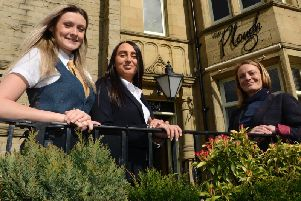 New Plough publican Clare Iniesta, right, with restaurant supervisor Charlotte Yeoman and assistant manager Amy Bloom. Picture by Jane Coltman
