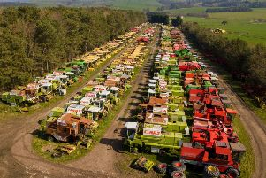 The Manners combine harvester graveyard near Alnwick seen from the air.