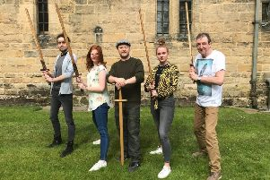 Mark Vance, centre, who runs medieval combat workshops at Alnwick Castle, puts new recruits Gary Burdon, Helen Doyle, Danielle Kemp and Jimmy Dodds through their paces.
