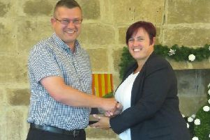 A Taste of Northumbria's Jannick Genouw receives his 2018 Northumbie Award from Carla Robinson, then general manager of Langley Castle.