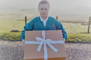 Otterburn First School have sent a gift to the new prince, son of the Duke and Duchess of Sussex, with the help of Otterburn Mill.