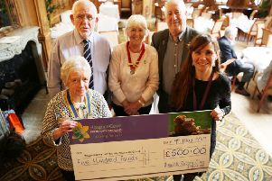 Alnwick Rotary Club president Barbara Reid hands over a cheque for �500 to Rebecca Taylor, fund-raiser with HospiceCare North Northumberland, with Rotarians Dave Campbell, Jill Clark and Charlie MacNeill.