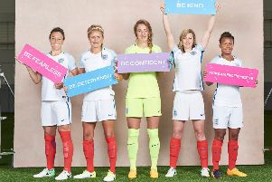 Disney Princess advice from the Lionesses (from L-R) Lucy Bronze, Steph Houghton, Siobhan Chamberlain, Ellen White, Nikita Parris giving advice to young girls.
