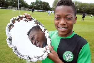 Dembele: Star of the future Karamoko Dembl, of Celtic with hisYoudanTrophy player of the tournament award 2016