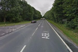 Near the scene of the accident on the A59