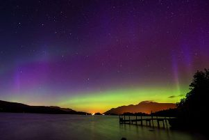 The Northern Lights - as seen over Derwentwater in the Lake District
