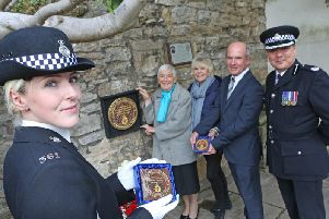 Pictured (left to right) Sgt Amy Hunter,Jean Thompson (Norman Garnham's sister);  Geraldine  Winner,  Gary Thompson (Norman Garnham's nephew) and Assistant Chief Constable  Phil Cain.