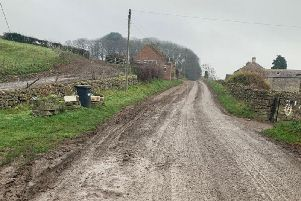 An image released by North Yorkshire County Council of mud on the roads