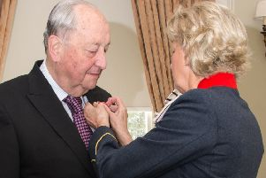 Peter Sparling was presented with his MBE by the Lord-Lieutenant of West Yorkshire, Dr Ingrid Roscoe.