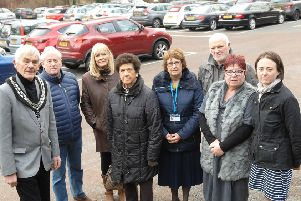 NAWN 1901152AM1 Wilderness Car Park,  The Mayor of Wetherby Coun. Galan Moss with councillors Victor Hawkins, Denise Podlewska, Cindy Bentley, Norma Harrington, David Frame, Dawn Payne and Town Clark Iona Taylor in the Wilderness car park.  (19011552AM1)