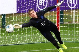 Burnley goalkeeper Nick Pope training with the Three Lions at St George's Park