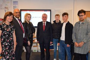 Students and college principal Amanda Melton with Azhar Ali and John McDonnell.