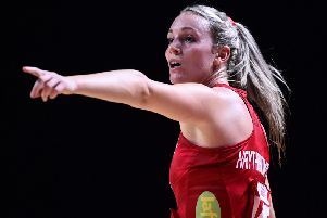 LIVERPOOL, ENGLAND - JULY 17: Natalie Haythornthwaite of England gestures during the preliminaries stage two schedule match between Trinidad & Tobago and England at M&S Bank Arena on July 17, 2019 in Liverpool, England. (Photo by Nathan Stirk/Getty Images)